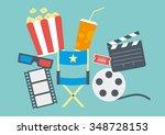 movie items including popcorn ...   Shutterstock .eps vector #348728153