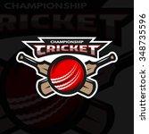cricket sports label  badge ... | Shutterstock .eps vector #348735596