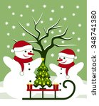 vector pair of snowmen and... | Shutterstock .eps vector #348741380
