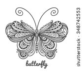 vector hand drawn butterfly....   Shutterstock .eps vector #348742553