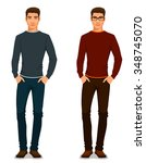 handsome young man in casual... | Shutterstock .eps vector #348745070