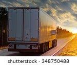 white truck on the rural road... | Shutterstock . vector #348750488