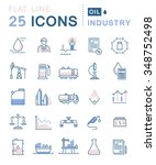 set vector line icons in flat... | Shutterstock .eps vector #348752498