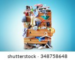 mess  dresser with scattered... | Shutterstock . vector #348758648