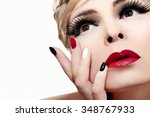makeup with red lips bushy... | Shutterstock . vector #348767933