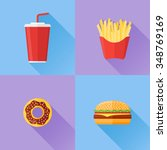 set of fast food. donut ... | Shutterstock .eps vector #348769169