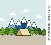 camping scene in mountains ... | Shutterstock .eps vector #348771734