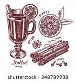 set of mulled wine  fruit and... | Shutterstock .eps vector #348789938
