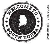 vintage passport welcome stamp... | Shutterstock .eps vector #348790658