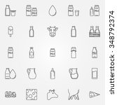 milk icons set   vector linear...