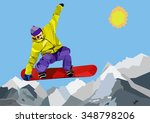 snowboarder jumping and making...   Shutterstock .eps vector #348798206