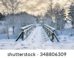 Snowy  Wooden Bridge In A...
