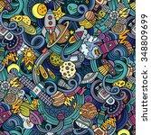 cartoon hand drawn doodles on... | Shutterstock .eps vector #348809699