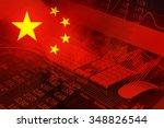 Flag Of China. Stock Market...
