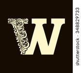 elegant capital letter w  in...   Shutterstock .eps vector #348829733
