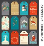 set of 12 christmas and new... | Shutterstock .eps vector #348832160