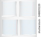 set of torn notebook papers... | Shutterstock .eps vector #348835220