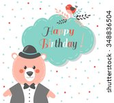 happy birthday card with cute...   Shutterstock .eps vector #348836504