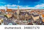 Aerial view on Marienplatz town hall and Frauenkirche in Munich, Germany