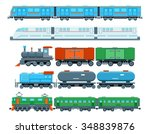 set of railway trains in flat... | Shutterstock .eps vector #348839876