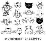 Stock vector cute cat heads set in hand drawn pet animal vector illustration 348839960