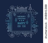 christmas frame template card.... | Shutterstock .eps vector #348841388