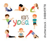 yoga kids set. gymnastics for... | Shutterstock .eps vector #348845978