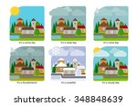different weather in the town.... | Shutterstock .eps vector #348848639