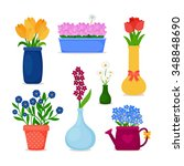 spring flowers in pots and... | Shutterstock .eps vector #348848690