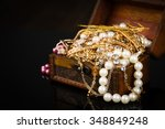 old wooden open chest with...