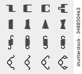spiral springs vector icons set.... | Shutterstock .eps vector #348850463