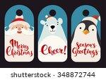 merry christmas vector labels...   Shutterstock .eps vector #348872744