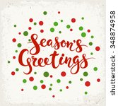 season's greetings vector card. ... | Shutterstock .eps vector #348874958