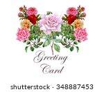 vintage watercolor greeting... | Shutterstock . vector #348887453