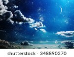 night sky with stars and full... | Shutterstock . vector #348890270