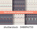 set of six ethnic seamless... | Shutterstock .eps vector #348896753