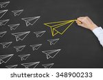 leadership concept airplane on... | Shutterstock . vector #348900233
