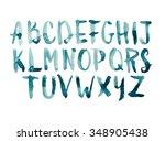watercolor aquarelle font type... | Shutterstock . vector #348905438