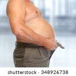 senior man with big fat stomach.... | Shutterstock . vector #348926738