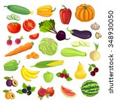 set of various fruit  berry and ... | Shutterstock .eps vector #348930050