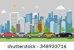 traffic jam background | Shutterstock .eps vector #348933716