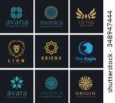 logo set logo collection crests ... | Shutterstock .eps vector #348947444