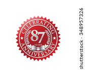 87 years anniversary silver red ... | Shutterstock .eps vector #348957326