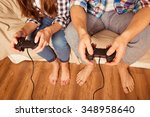 couple in love at home playing... | Shutterstock . vector #348958640