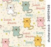 cartoon sleeping cat. cute hand ... | Shutterstock .eps vector #348959438