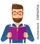 a hipster man with the beard... | Shutterstock .eps vector #348960926