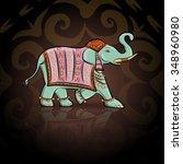 emerald ethnic elephant  | Shutterstock .eps vector #348960980