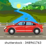 idyllic summer landscape. the... | Shutterstock .eps vector #348961763