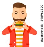 a happy hipster man eating... | Shutterstock .eps vector #348961820