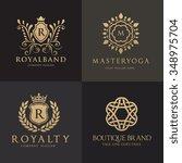 luxury logo set crest logo... | Shutterstock .eps vector #348975704